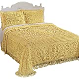 Collections Etc Calista Chenille Bedspread with Fringe Border, Queen, Yellow