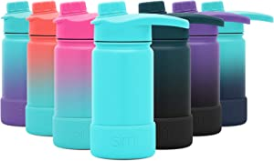 Simple Modern 14 Ounce Summit Water Bottle with Chug Lid & Protective Boot - Hydro Vacuum Insulated Flask 18/8 Stainless Kids -Caribbean