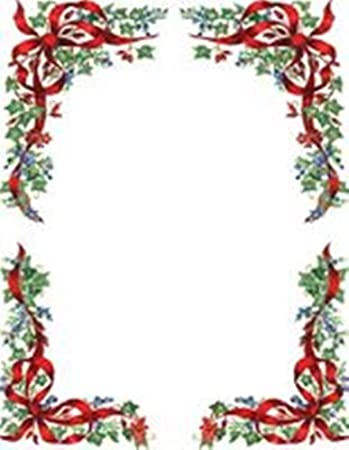 graphic about Printable Christmas Letterhead titled Geographics Ivy and Berries Xmas Letterhead, 8.5 x 11 Inches, Layout, 100-Sheet Pack (47678)