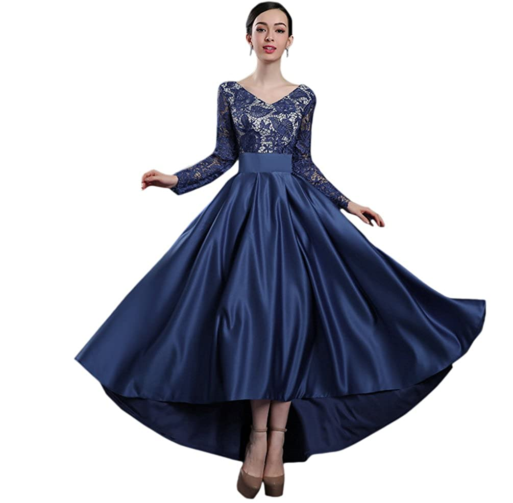 Ealafee Womens Long V Neck High Low Wedding Evening Lace Prom Dress Sleeves QUZ01K
