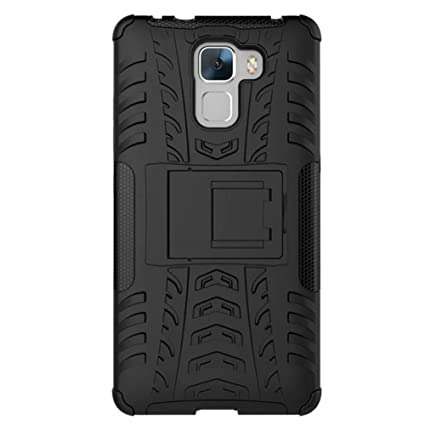 wholesale dealer d06ba 89046 HuaWei Honor 7 Case, Dual Layer Armor Combo Shockproof Heavy Duty Shield  Hard Case Cover for HuaWei Honor 7 (Black)