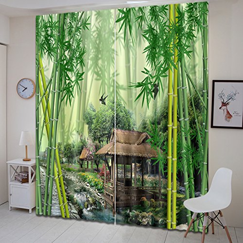 Bamboo Forest Decor Curtains By LB,Green Bamboo Tree and Pavilion 3D Window Treatment Spa Zen Curtain Living Room Bedroom Window Drapes 2 Panels Set,104W x 63L Inches by LB (Image #2)