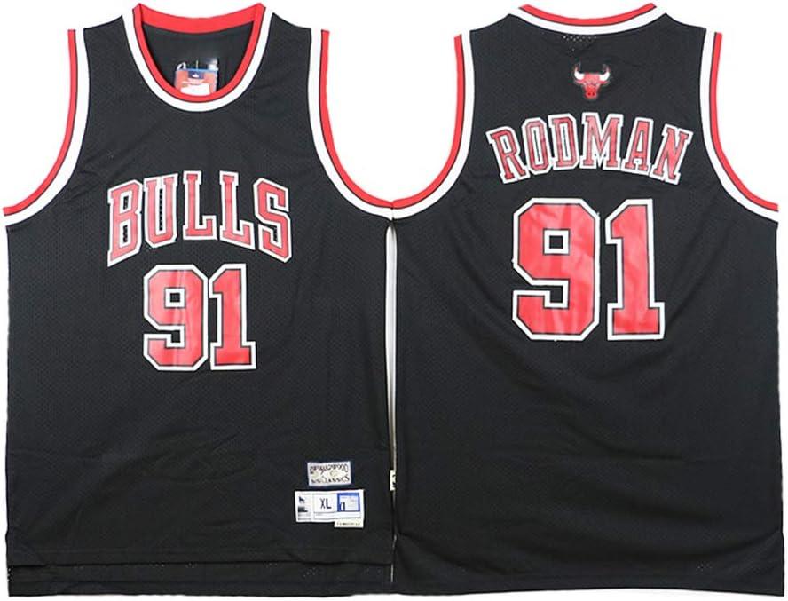 Malla Unisex con Capucha Baloncesto Aficionado XH-CHEN Dennis Rodman Baloncesto Jersey NBA Chicago Bulls # 91 Tela Respirable Fresco Retro de Las Estrellas Jersey