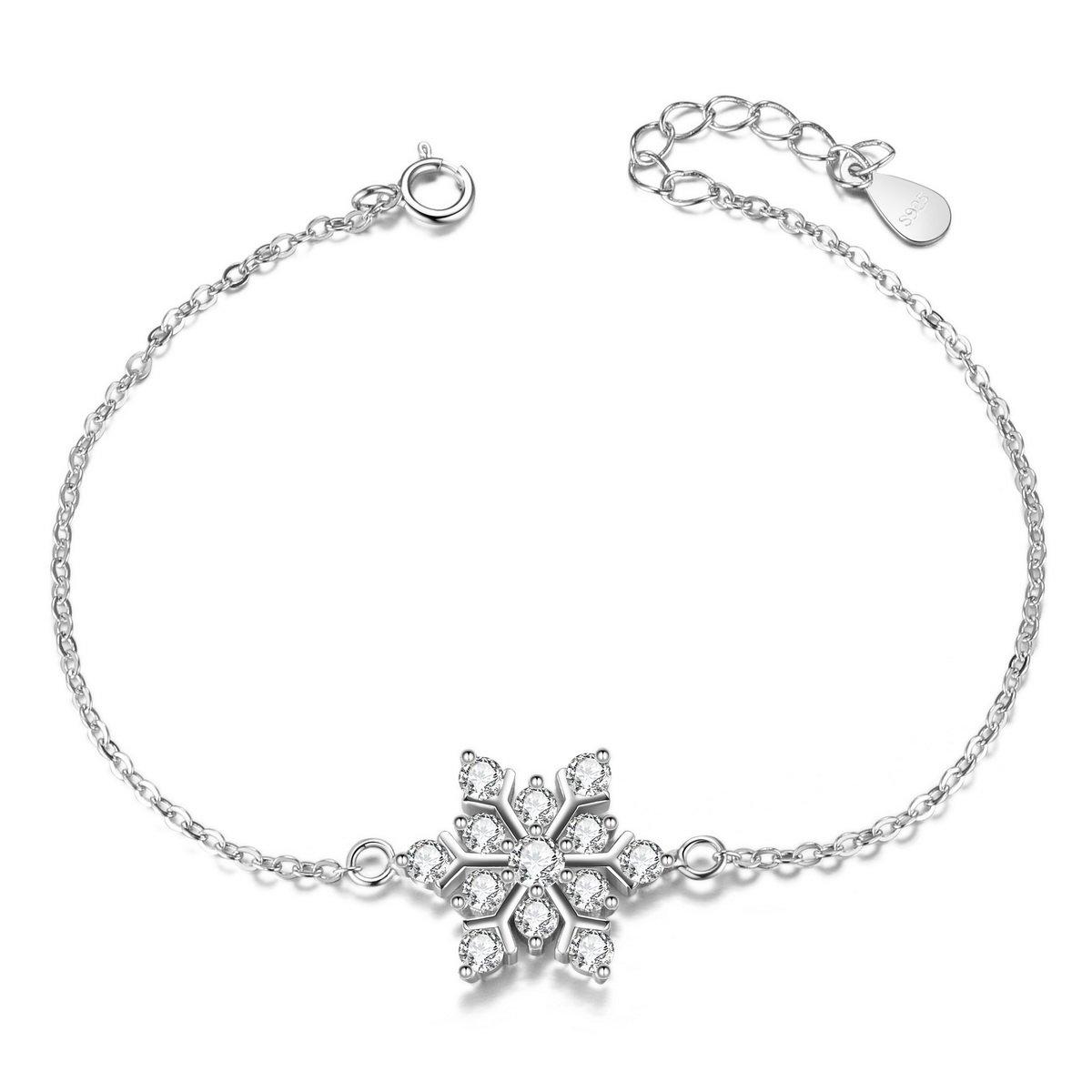 SWEETIEE - Bracelet Femme Simple en Pur Argent 925 Sterling de bonne qualite, ornement Flocon de neige micro pave zircon AAA Brillant, Platine, 165mm JB341A