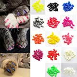 20 Pcs Soft Nail Caps Anti-bacterial Paws Claws Protector For Cat Kitten Pet
