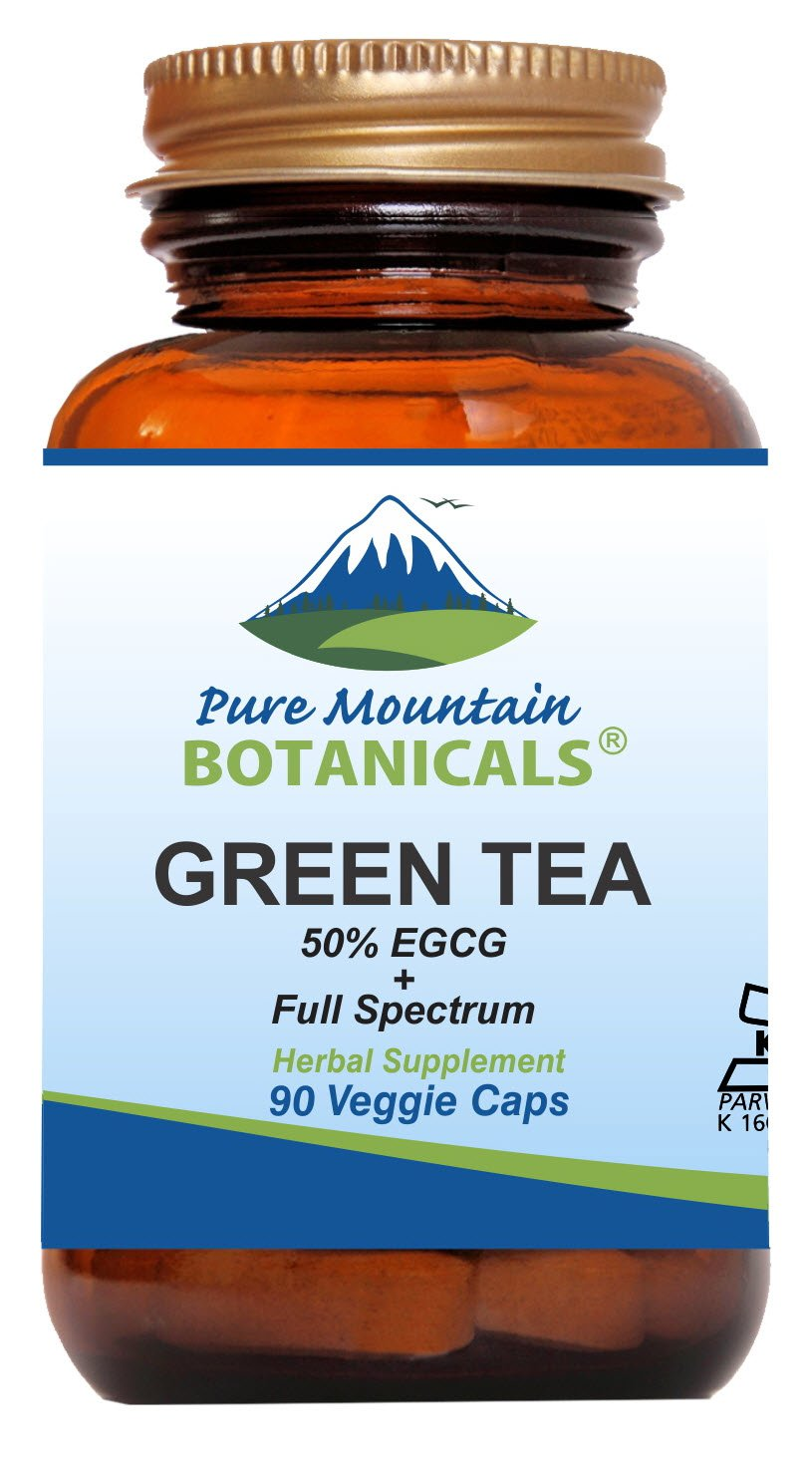 Green Tea Capsules - 90 Kosher Vegan Caps with 450mg Organic Full Spectrum and Pure Green Tea Extract by Pure Mountain Botanicals