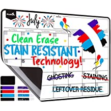 Magnetic Dry Erase Calendar for Fridge: with Stain Resistant Technology - 2 Sizes - 4 Fine Tip Markers and Large Eraser with Magnets- Monthly Whiteboard Organizer: Refrigerator White Board Sheet
