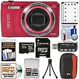 Minolta MN12Z OIS 12x Zoom Wi-Fi Digital Camera (Red) with 32GB Card + Case + Battery + Flex Tripod + Kit