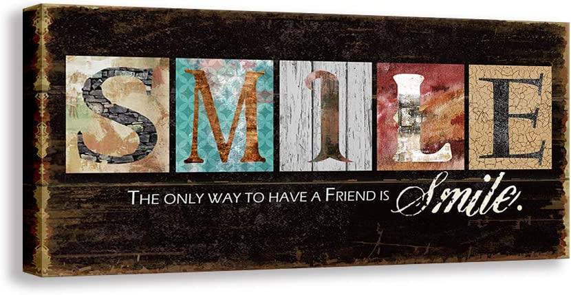 Kas Home Inspirational Motto Canvas Wall Art,Family Smile Prints Signs Framed, Retro Artwork Decoration for Bedroom,Living Room & Home Wall Decor (8 x 16 inch, Smile)