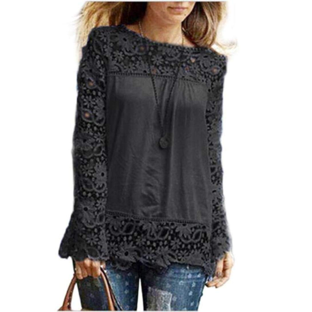 Women Plus Size Hollow Out Lace Splice Long Sleeve Shirt Casual Blouse Loose Top(Black,Medium)