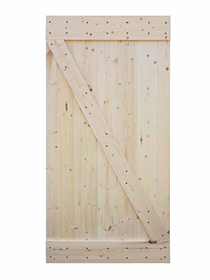 42u201dx84u201d Solid Core Unfinished Plank Knotty Pine Barn Wood Sliding Interior  Door