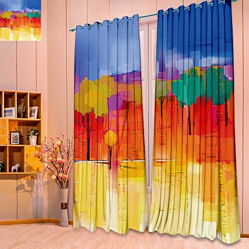 Room Darkening Window Curtain Panel Pair abstract colorful oil painting landscape on canvas semi abstract image of tree for Living Room(W104 x L84 Pair) ()