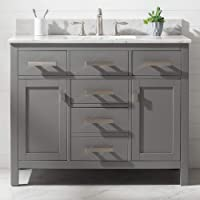 """Luca Kitchen & Bath LC42PGW Tuscan 42"""" Single Bathroom Vanity Set in French Gray with Carrara Marble Countertop and Porcelain Sink"""