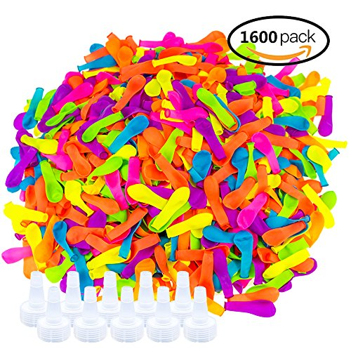 Jeffirm 1600 Pieces Water Balloons Bombs Bunch With 10 Pieces Hose Nozzle For Outdoor Water Bomb Fight Games by Jeffirm