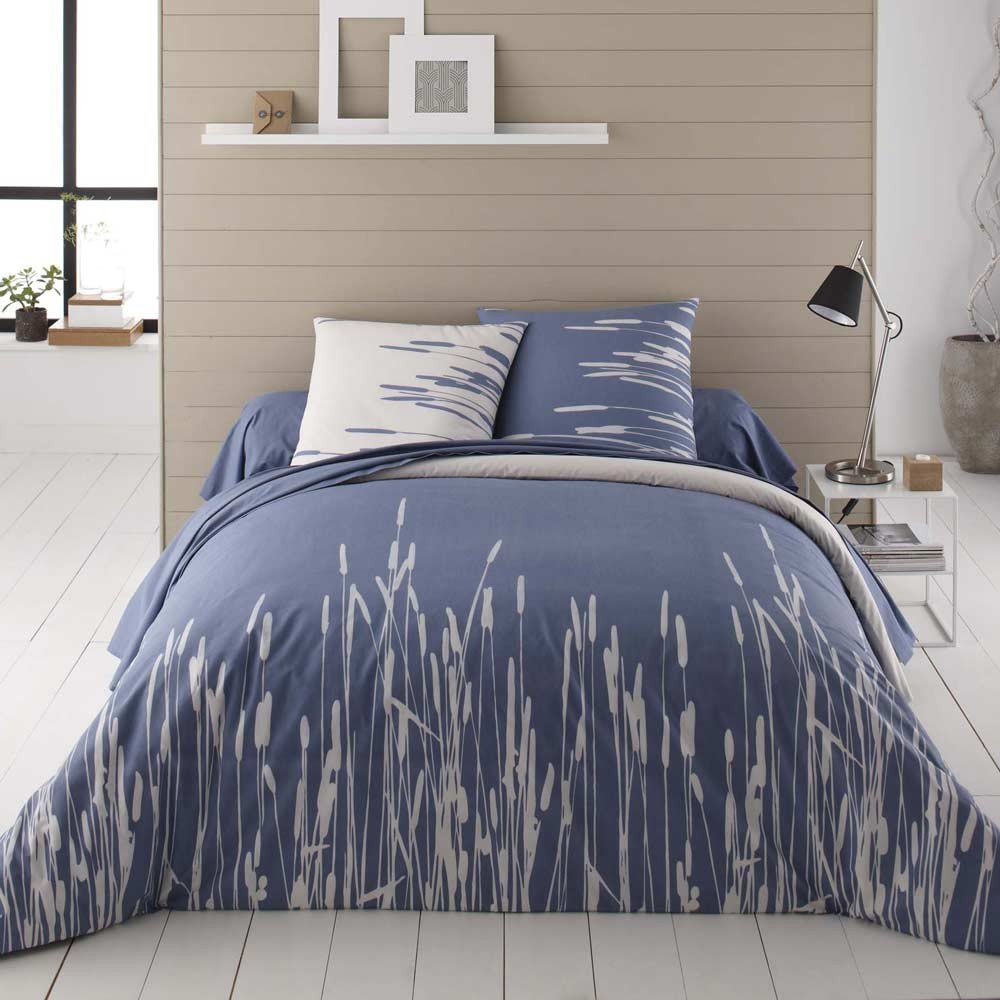 La Maison Nature Bettwäschegarnitur aus 100 % Bio-Baumwolle, Motiv: Schilfrohr, blau, 240x220 + 2 x 63x63