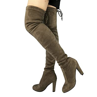 e713783486e Taylor Heart Nice Fashion Top Faux Suede Women Thigh High Boots Stretch  Slim Sexy Fashion