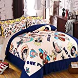 Sport do Japanese Anime Famous Cartoon Character One Piece Luffy Bedding Set,Kids/Students Duvet Cover Set-Shrink, Fade and Stain Resistant
