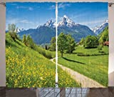 Ambesonne Apartment Decor Curtains 2 Panel Set, Spring Scenery in Alps with Floral Grass and Snowy Mountain Tops in Rural Village Photo, Living Room Bedroom Decor, 108 W X 90 L Inches, Multi Review