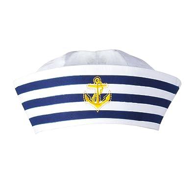 Boland BV Navy Sailor Doughboy Hat, White/Navy: Toys & Games