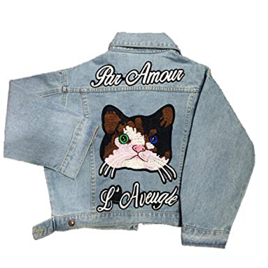 Short Cat Embroidery Denim Jackets for Womens Fashion Jean Coats with Letter Autumn Winter Chaquetas Mujer