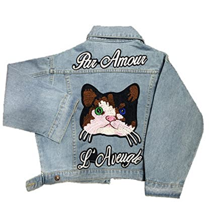 Amazon.com: Short Cat Embroidery Denim Jackets for Womens Fashion Jean Coats with Letter Autumn Winter Chaquetas Mujer Soft Lady Jean Jacket: Clothing