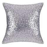 Decorative Pillow Cover - Decorative Euro Throw Pillow Cover - Pony Dance Glitter Sequins Cushion Cover Home Sofa Pillow Case for New Year Party/ Wedding Decoration Including Hidden Zipper,18 x 18 inches(1 Cover Pack,Silver)