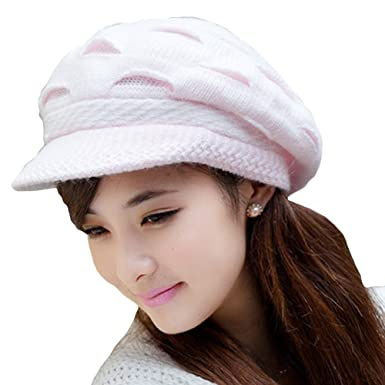 2aadb9e03af Locomo Women Girl Slouchy Cut Openings Fluffy Knit Beanie Crochet Rib Hat  Brim Cap Winter Warm FFH004PNK Pink  Amazon.in  Clothing   Accessories