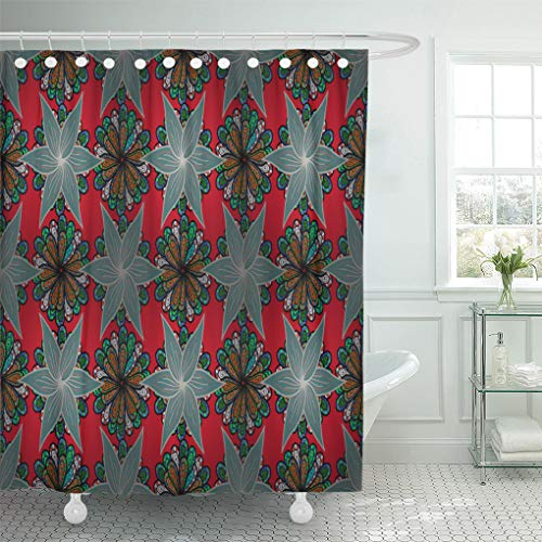 (Emvency Shower Curtain 72x78 Inch Home Decor Beautiful Snowflake On Red Black and Blue Colors Raster Cute Object Celebration Shower Hooks Set are)