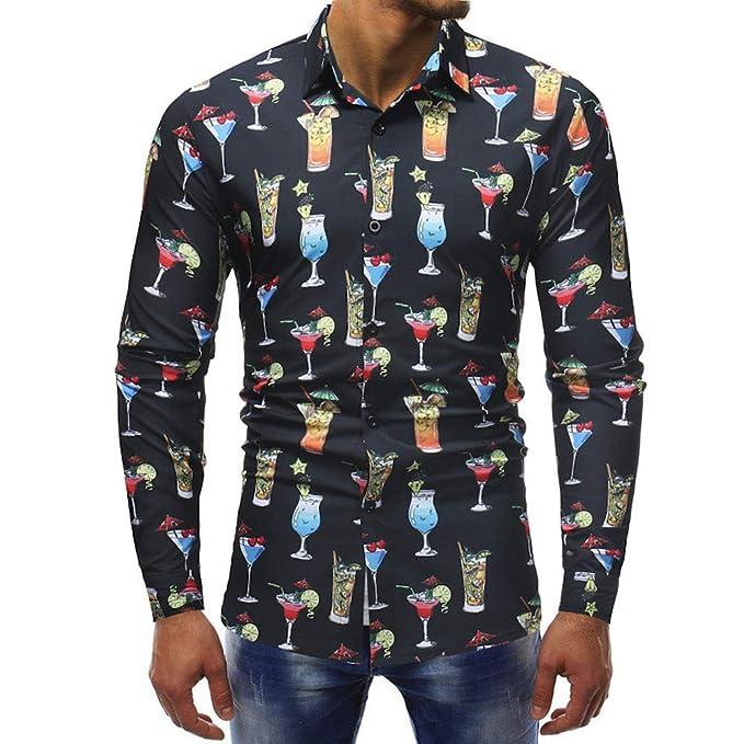 Blusa Impresa para Hombre de la Moda Camisas Ocasionales de Manga Larga Slim Tops por Internet: Amazon.es: Ropa y accesorios