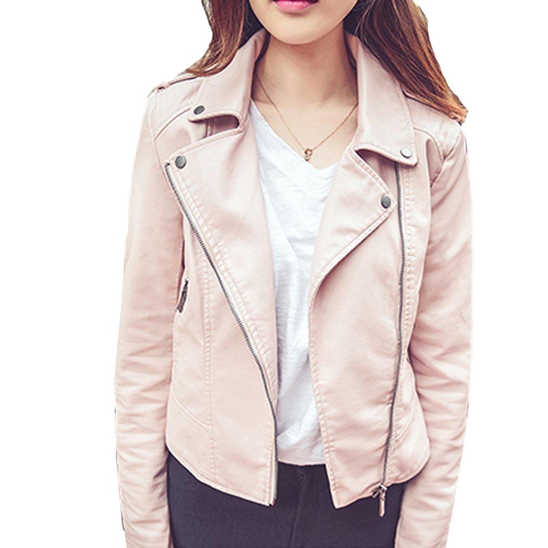 South Omi Womens Faux Leather Slim Jacket Moto Zipper ...