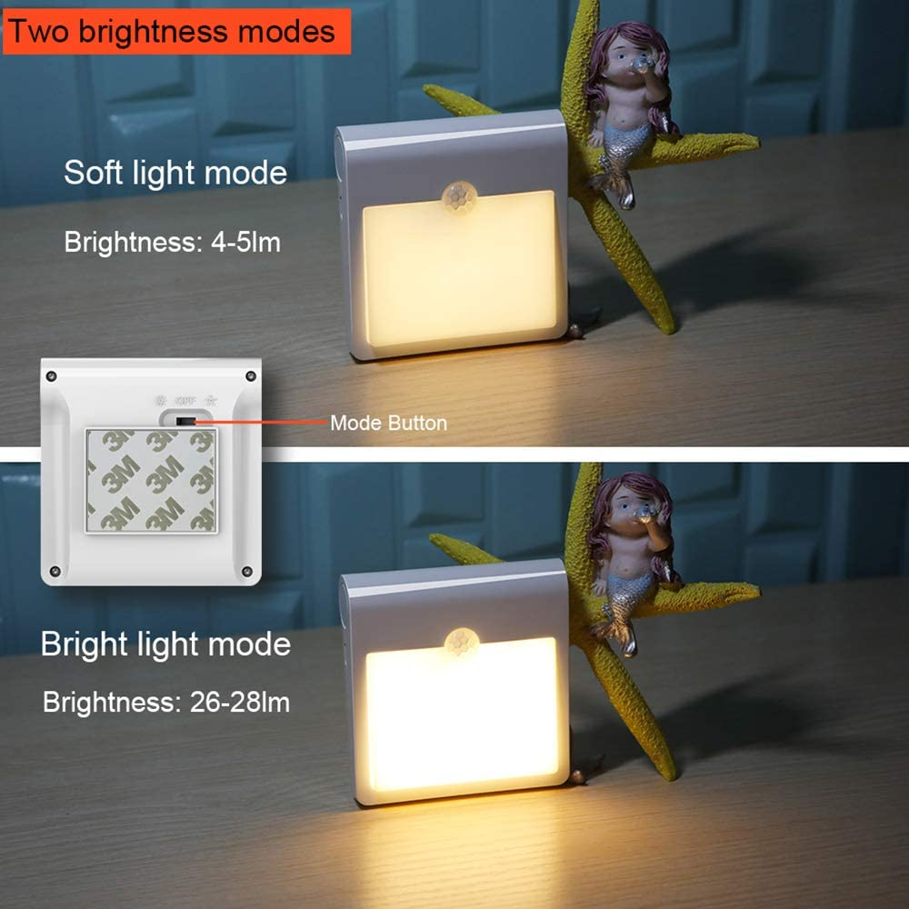 LED Stick-On Cupboard Light 2 Pack USB Rechargeable Stick-Anywhere Wall Light with 12 LED Removable Night Light for Bedroom Bathroom Kitchen Hallway Stairs Motion Sensor Night Light Cool White