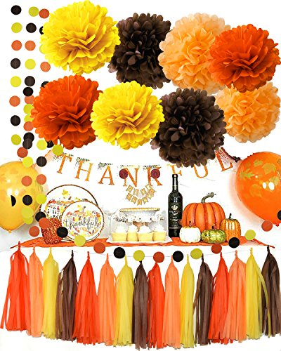 Fall Party Supplies/Thanksgiving Party Decorations Yellow Orange Brown Pumpkin Color Tissue Pom Pom Tassel Garland Circle Garland for Autumn Party Decortions/Autumn Wedding, Fall Themed Decor by Qian's Party