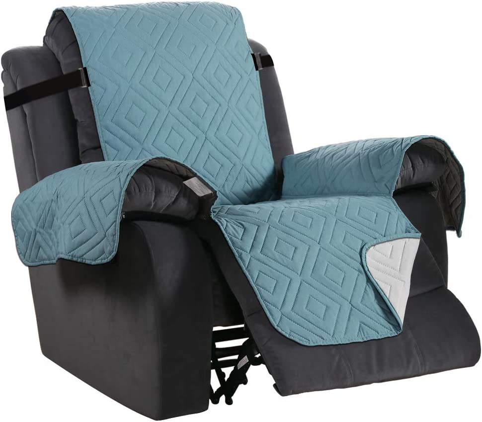 """Recliner Cover Reversible Sofa Slipcover Furniture Protector Water Resistant 2 Inch Wide Elastic Straps Recliner Chair Cover Pets Kids Fit Sitting Width Up to 22"""" (Recliner, Stone Blue/Beige)"""