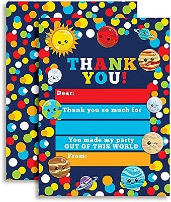 Espacio exterior planetas cumpleaños notas de agradecimiento ...