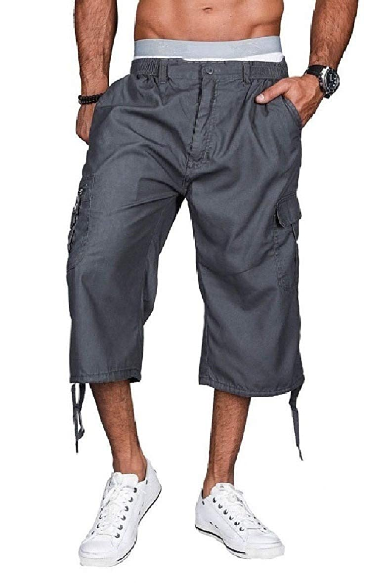 Zimaes-Men Low Waist Outdoor Utility Pocket Cropped Cargo Twill Pant