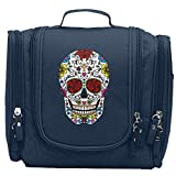 Colorful Mexican Sugar Skull Portable Cosmetic Toiletry Bags Travel Storage Bag Organizer Makeup Train Case
