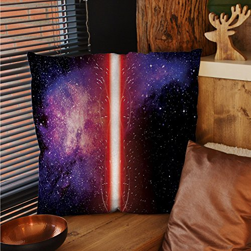 sunsunshine Galaxy patterned pillow cases Famous Movie Weapon Fantastic Galaxy War between Enemies Theme Sword with Red pillow cases decorative Black by sunsunshine