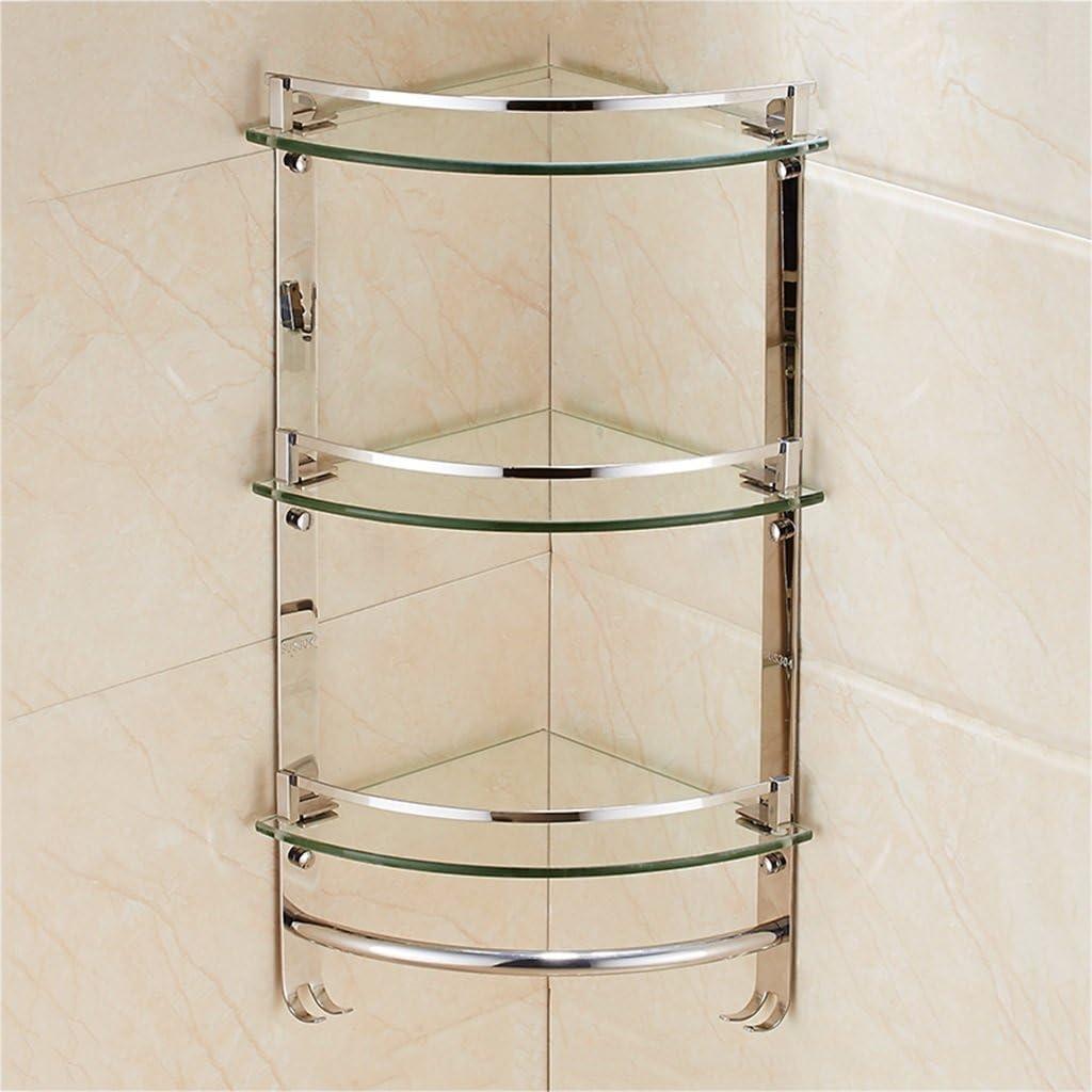 Amazon Com Multipurpose Bathroom Shelf Stainless Steel Triangle Glass Wall Mount Toilet Corner Shelves Size 59 3cm 23 3inch Home Kitchen