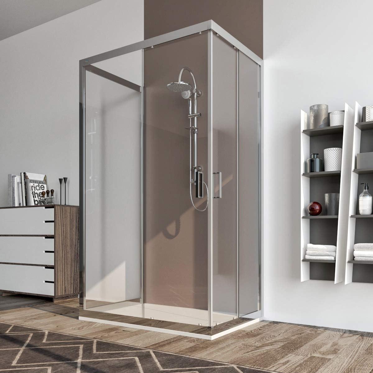 Cabina de ducha 3 lados 90 x 90 x 90 cm puerta corredera cristal antical transparente 6 mm. Palma: Amazon.es: Bricolaje y herramientas