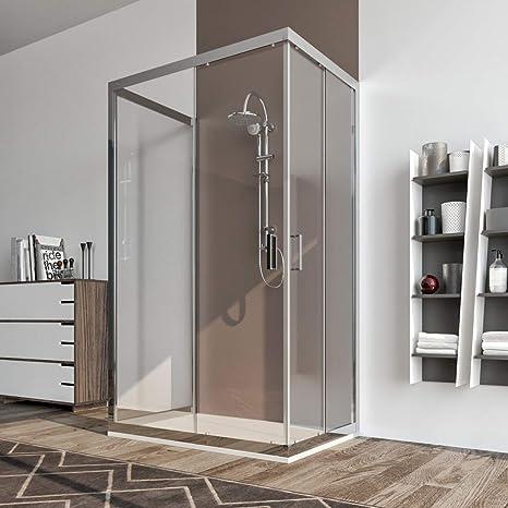 Cabina de ducha 3 lados 90 x 90 x 90 cm puerta corredera cristal ...