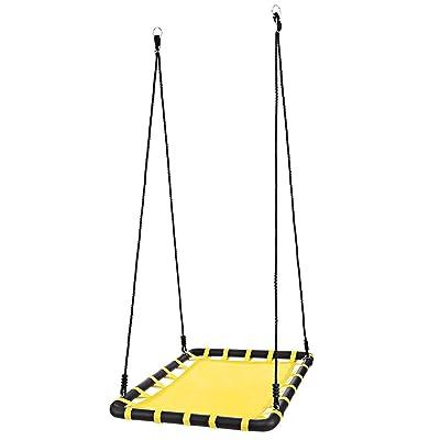 Benlet Outdoor Swing, 40x30in Giant Heavy Duty Mat Platform Tree Swing for Multiple Kids Yard Playground Fun