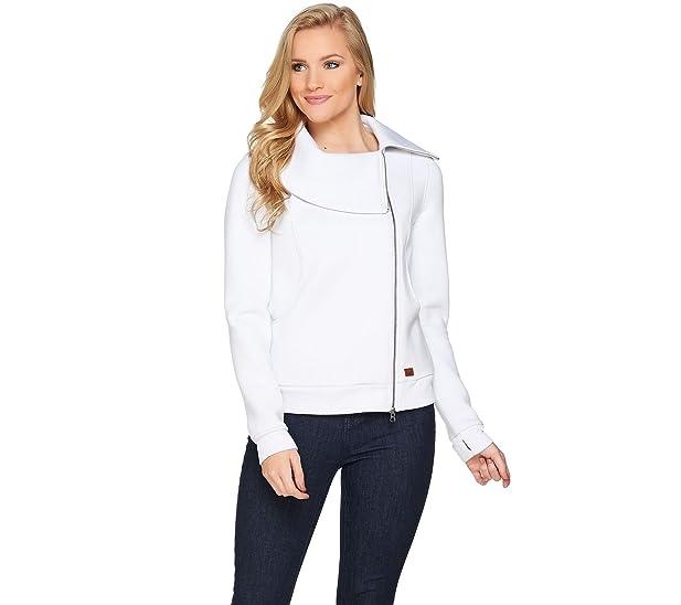 Peace Love World Asymmetric Zip Front Scuba Knit Jacket White Xl New A