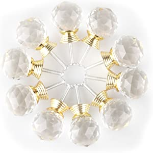 Round Clear Crystal Knob, MAIKEHOME 10 X 30MM Acrylic Glass Diamond Cut Cabinet Door Drawer Knob Kitchen Dresser Wardrobe Pull Handle with Screws for Home Decorating (Golden)