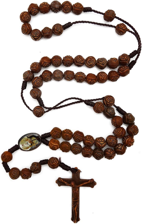 JewelryVolt Catholic Necklace Wooden Crucifix St Benedict Medallion