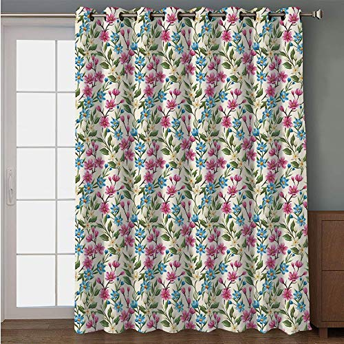 (Blackout Patio Door Curtain,Flower Decor,Shabby Chic Floral Buds Leaves Ivy Like Garden Decor Design Art Print,Pink and Blue,for Sliding & Patio Doors, 102