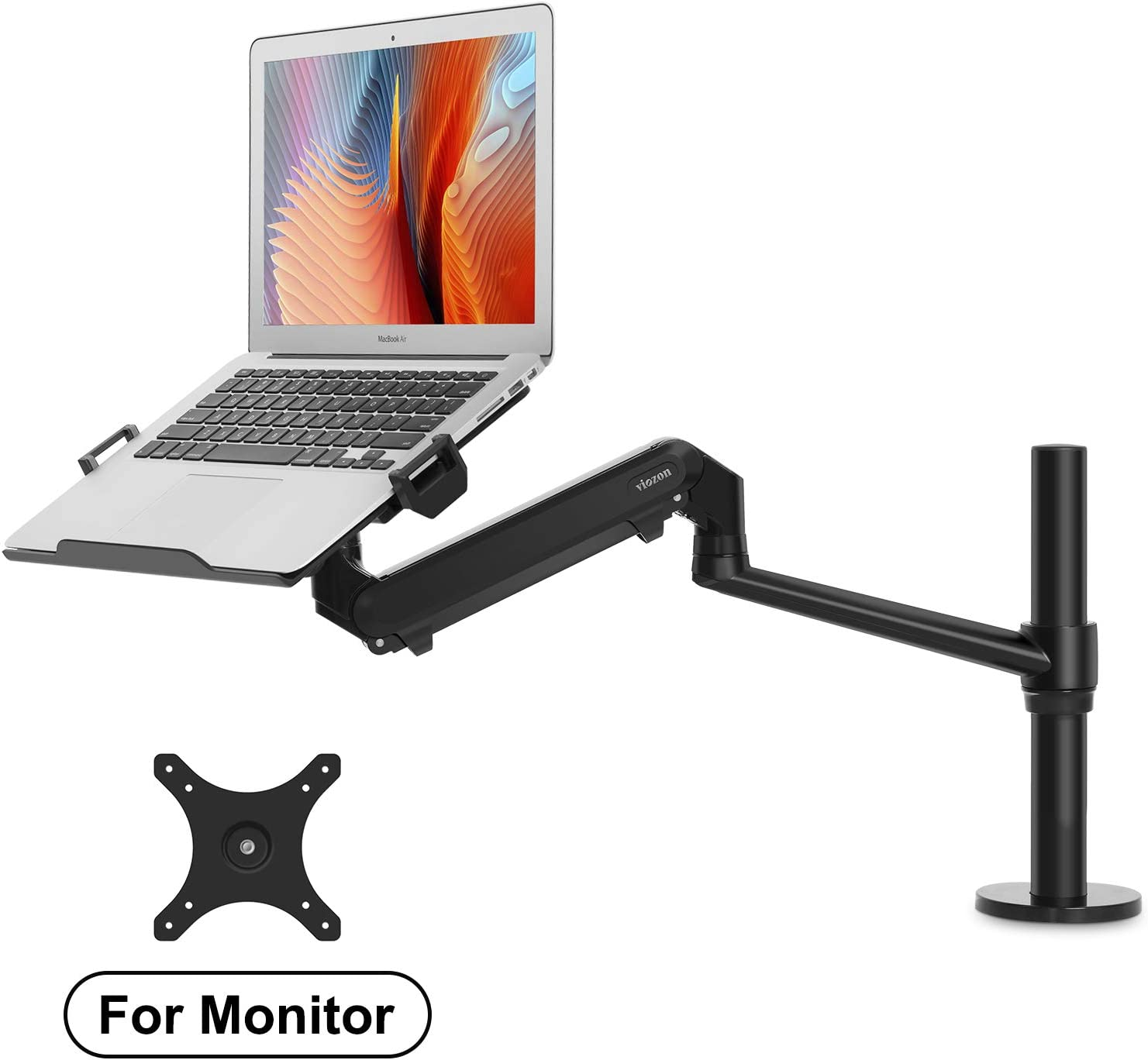 "viozon Monitor or Laptop Mount, Single Gas Spring Arm Desk Stand/Holder for 17-32"" Computer Monitor, Extra Laptop Tray Fits 12-17"" Laptops/Notebook(1S-Plus)"