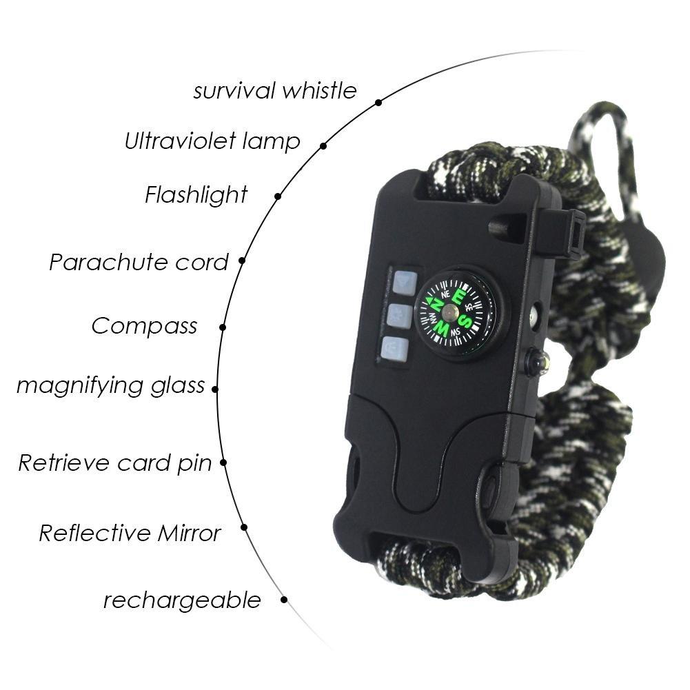 Compass Whistle iShine Survival Bracelet Adjustable Rechargeable Paracord Bracelet Multifunctional Survival Wristband Flashlight