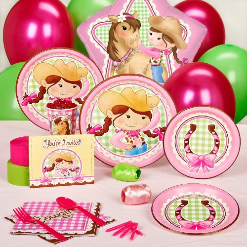 Pink Cowgirl Party Supplies - Standard Party Pack for 16 (Cow Girl Party Decorations)