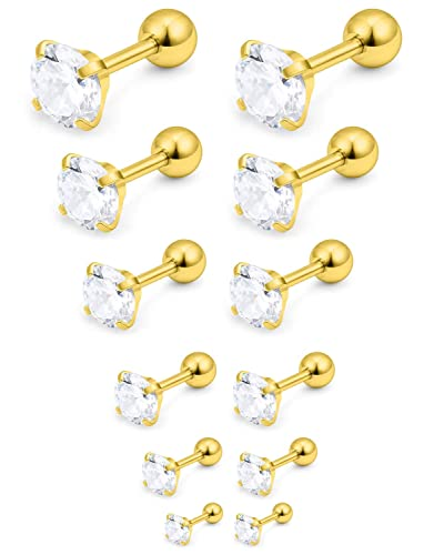 4c832d6d3 Amazon.com: Yaalozei 16G Stainless Steel Ear Stud Earring Piercing Tragus  Helix Barbell Studs Earrings Round Clear Cubic Zirconia for Mens Womens  3-8mm 6 ...