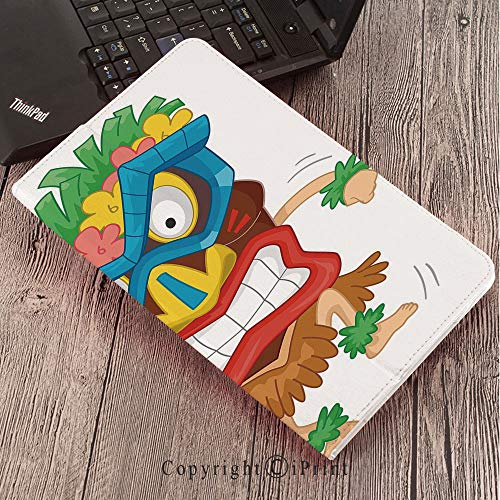 for Galaxy Tab S3 9.7″,TPU Silicone Case for Samsung Galaxy Tab S3 T820 / T825,Tiki Bar Decor,Native Man Wearing Mask Illustration Cartoon Tribal Costume Primitive Ritual Decorative,Multicolor ()